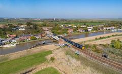 37716 and 37423 on Reedham swing bridge (robmcrorie) Tags: 37716 37423 class 37 loco hauled wherry line reedham swing bridge norfolk phantom 4 river yare boat broads