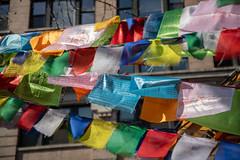 Buddhist Prayer Flags in Bogardus Garden, Tribeca, New York, USA (JayDeWinne) Tags: buddhistprayerflags bogardusgarden tribeca newyork usa hudsonstreet colourful tibetan nepal prayerflags cultureinstallationart publicart