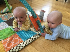 """Sam and Luc Have Tummy Time • <a style=""""font-size:0.8em;"""" href=""""http://www.flickr.com/photos/109120354@N07/33773338548/"""" target=""""_blank"""">View on Flickr</a>"""