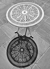 Table shadows (johnlauper) Tags: monochrome blackandwhite table shadows shapes circles