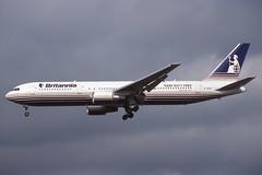 G-OBYA Gatwick 9-10-1998 (Plane Buddy) Tags: gobya boeing 767 britannia lgw gatwick