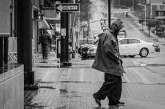 The Wrong Way (michael.mckennedy) Tags: man walking walk city street photography blackandwhite burlington vermont sign oneway wet rain
