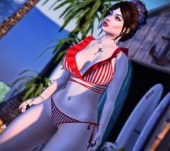 Vintage 👙 (ღ Sɑrɑɑh Drɑgoone ღ) Tags: vintage girl red white woman gorgeous sexy maitreya catwa bentoav gameonline secondlife pic photo mesh sweet summer flower bikini shop outfit pose rosachiclete