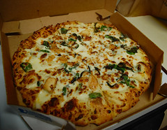 Pizza Supper. (dccradio) Tags: lumberton nc northcarolina robesoncounty indoor indoors inside dominos dominospizza food eat supper dinner lunch snack april friday fridayevening fridaynight evening weekend nikon d40 dslr pizza alfredosauce chicken spinach