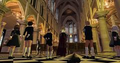 School trip to Notre Dame (cadeSL) Tags: school trip church cathedral saint st columba catholic children boys girls pupils students notre dame sl secondlife second life virtual 3d world rp irish
