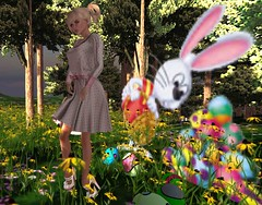 Now, where's that wascaly wabbit? (Teddi Beres) Tags: second life sl virtual heels shoes cute pink blonde girl woman easter bunny eggs flowers field fashion style kawaii fun sunny spring