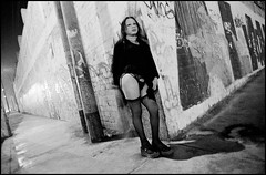 Larry Towell (Cabaret Queer) Tags: anglederue attente bassousvêtement extérieur exterior homme25à45ans latinamerican man25to45years night nuit portrait prostituée prostitute rue sousvêtement stockings street streetcorner transvestite travesti typehumainhispanique underclothes waiting
