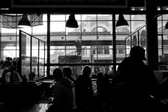 Small Cafeteria in Pike Market (Black-Brick) Tags: seattle pike cafeteria bw fujifilm life