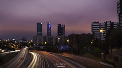 Light the way - Madrid, Spain (David Pulido Gallego) Tags: madrid spain españa luces lights dawn atardecer cielo sky nubes clouds buildings edificios city ciudad skyline rascacielos arquitectura architecture blending hdr road davidpulido canon sigma 1100d street light traffic trafico rush hour cityscape long exposure larga exposicion urban