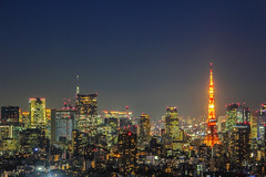 Tokyo Tower in the Evening (Louis Mesa) Tags: tokyo tower sky tree japan landscape mega city