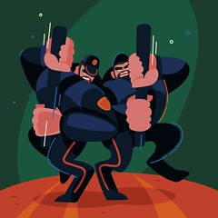 Trendy illustration (Monich Alexander) Tags: trendy illustration cops militia police cop pig devil heck jerk aggression freedoom attack assault offense onslaught charge rubber truncheon belarus belarussian minsk illustrator monich alexander uix digital trend art artist ustrations web design webdesign internet lawlessness law masturbation man men body bodybuilder muscles muscular hot off arouse sexually cartoon joke funny fun protest