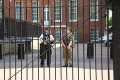 Armed Police and Soldier at the back entrance to Downing Street (Ian Press Photography) Tags: armed police soldier back entrance downing street london met 999 emergency service services metropolitan officer officers gun guns army military