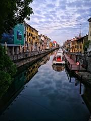 Milano (sneno75) Tags: milano milan naviglio grande navigli mattina morning clouds nuvole battello riflessi reflexes