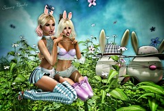 Hoppy Easter (sunny.hanly) Tags: secondlife sl virtualworld game fashion originals art outfit clothes dress gem gems hair long blond aviglam choker maitreya lara photography peace avatar digitalart digitalphotography mesh bento laq gaia sunnysstudio