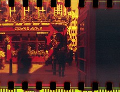 Crown and Anchor (Myahcat) Tags: redscale 35mm film kodakbrownie adapted sprockets spring london analogue pub londonpub crownandanchor coventgarden