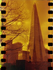 Shard (Myahcat) Tags: redscale 35mm film kodakbrownie adapted sprockets spring london analogue shard building believeinfilm bifscale