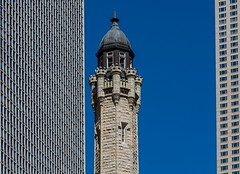 Old & New (Karen_Chappell) Tags: travel chicago building architecture watertower tower concrete windows city urban usa illinois blue stone canonef24105mmf4lisusm
