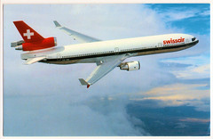 Swissair - McDonnell-Douglas MD-11. And its Safety Record. (pepandtim) Tags: postcard old early nostalgia nostalgic swissair mcdonnell douglas switzerland engadin press printed 34sws72