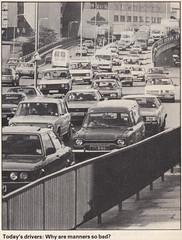 Traffic Jam, London? early 1980s Autocar 14/11/84 (Spottedlaurel) Tags: autocar 1984 trafficjam ford escort wan375m cortina bhj266x datsun 610 c210 240k skyline