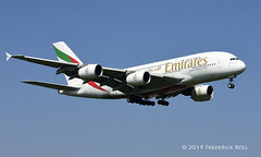 Emirates A380 ~ A6-EDX (© Freddie) Tags: londonheathrow poyle heathrow lhr egll 09l arrivals emirates airbus a380 a388 a6edx fjroll ©freddie