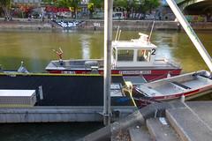 URBAN ART ALONG THE DANUBE CANAL IN VIENNA (artofthemystic) Tags: austria danubecanal vienna urbanart graffiti boat firedepartment
