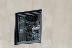 In a Window (Crisp-13) Tags: man suit waistcoat shirt window hide seek son