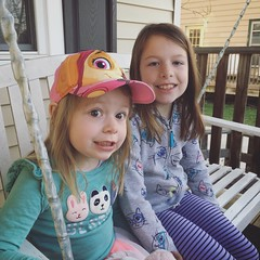 Mornings With The Munchkins (matthewkaz) Tags: madeleine norah daughter daughters child children sisters porch swing pawpatrol hat home house burcham eastlansing michigan 2019