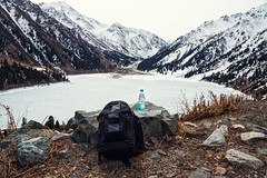 Bon Aqua (free3yourmind) Tags: bon aqua mountain peak snow ice almaty kazakhstan big lake backpack explore explorer travel photographer bottle water view panoramic