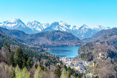 Panorama: Alps, Alpsee, and Schwangau from Schloss Neuschwanstein (BlueVoter - thanks for 2.5M views) Tags: alps alpsee schwangau mountains snow lake town