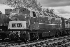D832 'Onslaught', Barrow Hill (JH Stokes) Tags: monochrome blackwhite class42 diesellocomotives dieselhydraulics warship d832 barr barrowhill trains trainspotting tracks transport railways locomotives photography