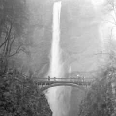 Multnomah Falls (magnetic_red) Tags: falls waterfall cascade water bridge multnomahfalls oregon bronicas2a trix rodinal mist fog trees light shadow