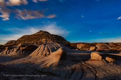 Moonrise Light at Dinosaur Park - West (Amazing Sky Photography) Tags: alberta dinosaur flex luminar moonlight moonrise provincialpark timelapse hoodoos moonstrike nightscape stars