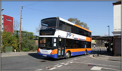 Centrebus 901, Rugby (Jason 87030) Tags: scania omnicity doubledecker rugby rail replacement warks warwickshire orange whit blue jmp centrebus midlands april bankholiday weekend uk buses 901 2019 canon eos transportation visit session town station railway vehicle