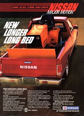1985 Nissan Long Bed  Pickup Truck USA Original Magazine Advertisement (Darren Marlow) Tags: 5 8 9 19 85 1985 n nissan l long b bed p pickup t truck c car cool collectible collectors classic a automobile v vehicle j jap japan japanese asian asia 80s
