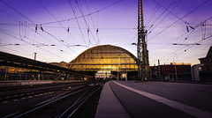 Bremen Hauptbahnhof (Tim Bullock Photography) Tags: bremen germany hauptbahnhof train station summer sunset sky golden hour goldenhour purple architecture urban dark shadows canon sigma