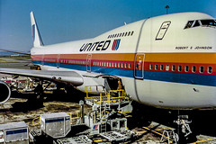 Robert E Johnson (Bill in DC) Tags: airports airplanes airlines 1989 film 35mm kodacolor canoneos650 boeing b747 b747122 n4727u ual unitedairlines sfo sanfranciscointernationalairpoer smp1