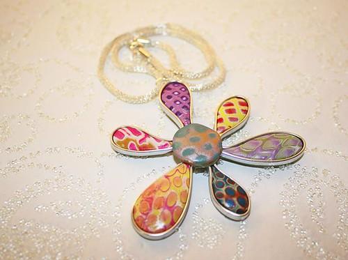 Polymer Patterned floral pendant