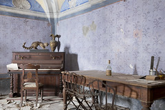 Villa del Dentista (Jonnie Lynn Lace) Tags: abandoned italy italia italian decay derelict detail details villa house home mansion purple yellow red piano chairs desk taxidermy old history time memories family texture textures nikkor nikon d750 classic relics jonnielace exploration explore explorer interior europe european trip travel colours arte artwork shadows wall