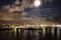 Under Moonlight (jamesromanl17) Tags: dock harbor harbour moon moonlight night southampton uk britain water sea ocean sky england light boat travel city lights clouds cloud cloudscape cloudy evening shadows reflection reflections