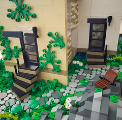 Checkered Tan House MOC. Two doors. (betweenbrickwalls) Tags: lego house moc home architecture architecturephotography building door steps afol modern garden