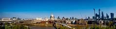 """Latitudinous"" - Skyline from Tate Modern. London, England. (Khalid H Abbasi) Tags: panasonicdmcgx7 london england waterloo stpaulscathedral londonskyline panoramicview riverthames millenniumbridge sky river wideanglephotography 20fenchurch greatpaul thewalkietalkiebuilding samyang75mmf35fisheyelens"