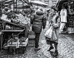The Joy of Shopping (sasastro) Tags: streetphotography candid laughter fruit market beret bags