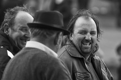 Enjoying the conversation (Frank Fullard) Tags: frankfullard fullard candid street portrait conversation happy funny lol monochrome black white blanc noir ballinasloe festival fair galway irish ireland
