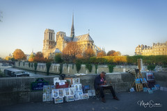 The Painter (marko.erman) Tags: notredame paris france cathedral church monument architecture beautiful seine river sunny sun automn sony people popular lacité painter pov unesco worldheritage