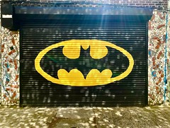 Shadow of the Bat (Wittwering) Tags: iphotography iphone rays publicart streetart mosaic colorful philly philadelphia city urban door garage batsignal batman reflection shadow light dogwood52 dogwood2019 dogwoodweek16