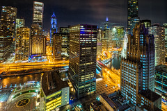 Chicago at night (tquist24) Tags: chicago chicagoriver hdr illinois nikon nikond5300 outdoor architecture city cityscape downtown geotagged lights longexposure night outside river skyline skyscraper skyscrapers street streets urban view