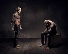 You do what I tell you (Tortured Mind) Tags: photoshop bts macabre nikkor dslr 32 gothicart portrait digitalart mood photomanipulation creative surreal imagemanipulation digitalmanipulation homestudio masculinity suomi finland dark studio 54 2470mmf28 man nikon fineart loneliness mask d850 sadness lighting kuopio