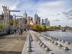 Sandridge Bridge (Anthony Kernich Photo) Tags: melbourne water autumn travel outdoor pleasant skyline city cityscape colour flickr olympusem10 olympus olympusomd microfourthirds victoria australia urban yarra bridge path leadinglines downtown sandridgebridge