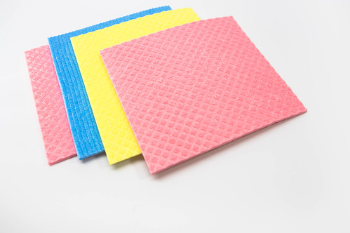 Pink, yellow, and blue, kitchen cleaning cloths