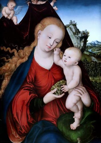 IMG_4003RB Lucas Cranach I 1471-1553 Weimar  Vierge à l'Enfant  Maria mit dem Kinde Virgin and Child  München  Alte Pinakothek.